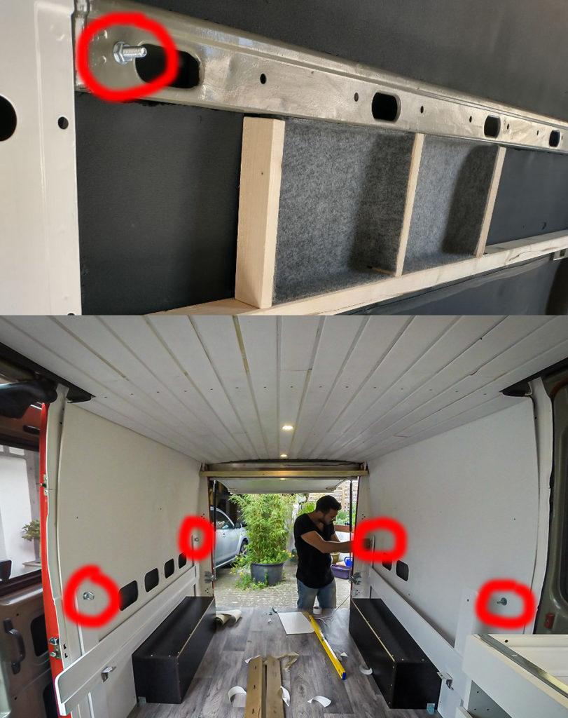 Reversibler Einbau von Bett, Schrank und Küche über M8-Schrauben